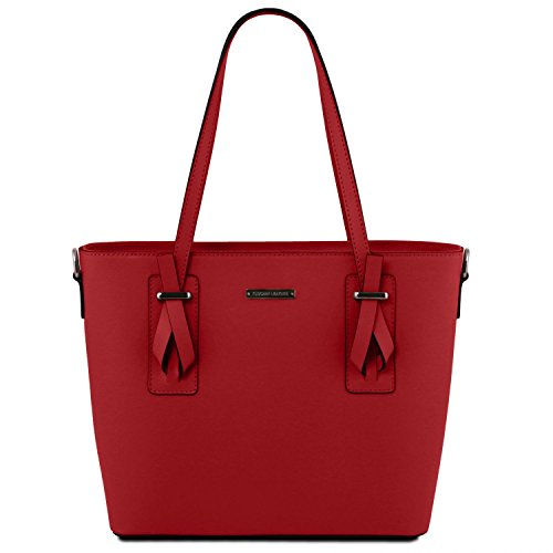 Tuscany Leather Afrodite Borsa shopper in pelle Nero Rosso