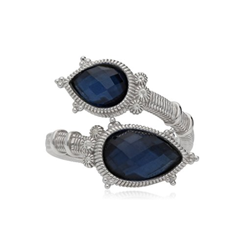 JUDITH RIPKA Amalfi Double Pear Shape Rose Cut Blue Quartz & Hematite Doublet Bypass Ring With White Topaz Accents