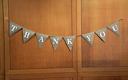 Price comparison product image THANK YOU Burlap Banner- Wedding Burlap Banner- Give Thanks Burlap Banner- Opulent Thanks Giving Banner- Custom Home Décor-Rustic Thankful Bunting-Thank You Party Décor-Pennant Flag Garland