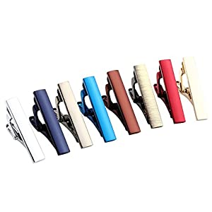 Zysta 2-8pcs Mens Stainless Steel Luxury Fashion Tie Bar Pinch Clip Set, Exquisite GQ Classic Skinny Ties 1.3 Inch, Gift Box