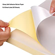 65 Sheets Glossy Sticker Paper, A4 Self Adhesive Sticker Label Paper for Laser and Inkjet Printers by Hapree