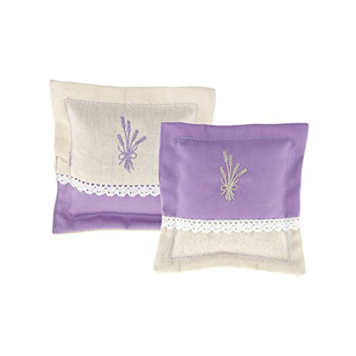 Set of 2 Provence Lavender Sachets - Embroidered Cotton with (Lace Sachet)