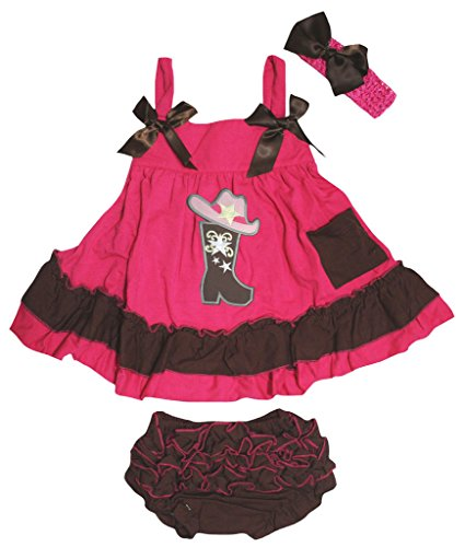 Petitebella Cowgirl Hat Boot Hot Pink Brown Swing Top Bloomer Nb-24m (12-24 Months) ()