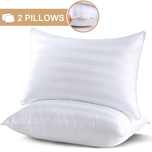 King Size Pillows for Sleeping 2 Pack - Adjustable Down Alternative Pillows with 100% Breathable Cotton Cover and Ultra-Soft Plush Fiber Fill, Hotel Quality Pillows for Back, Stomach, Side Sleepers