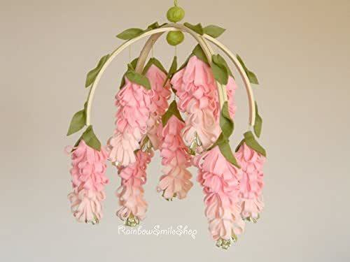 Pink wisteria baby mobile flower mobile baby for Decorate with flowers amazon