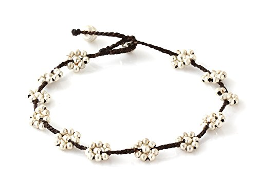 MGD, Silver Tone Color Bead and Bell Anklet. Beautiful Handmade Brass Flower Anklet. Small Anklets. Ankle Bracelet. Fashion Jewelry for Women, Teens a…