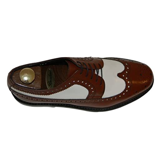 Mens Wingtip Spectator Leather Shoes Two Tone Oxford Brogues with Thick Soles