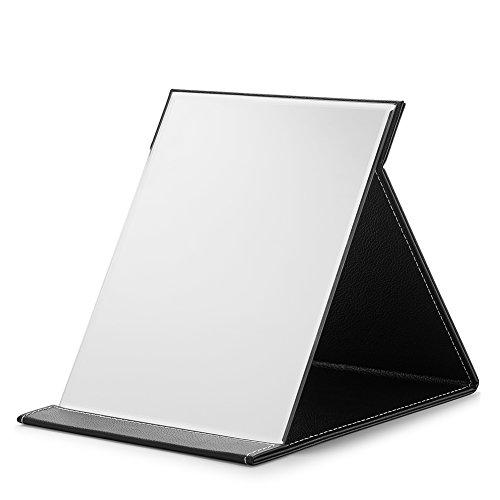 "Large Folding Mirror, PU Portable Adjustable Rectangular Ultrathin Mirror, for Travel, Camping, Black, 9.6"""
