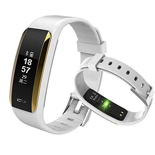 Fitness Tracker, KINGBERWI Heart Rate Monitor Activity Tracker, IP67 Waterproof Smart Bracelet Bluetooth Wristband Blood Pressure Watch with Sleep Monitor for Kids Girls Men Android iPhone (White)