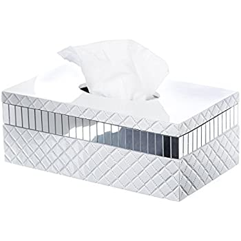 Elegant Quilted Mirror Tissue Box Cover Rectangular (10u201d X 5.8u201d X 3.75u201d)