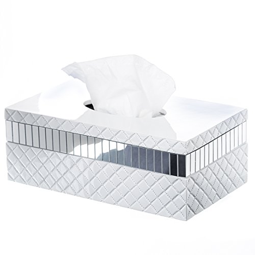 "Quilted Mirror Tissue Box Cover Rectangular (10"" x 5.8"" x 3.75"") – Decorative Bath Tissues Paper Napkin Holder- Resin Rectangle Napkins Container- Bottom Slider- For Elegant Bathroom Décor"