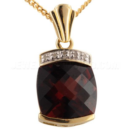 & or 9 carats-Grenat-Diamant Pendentif de Bar rembourré