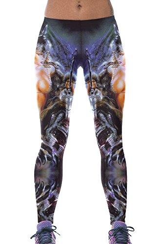 Neuf femmes Rouge et argent métallique Peau de serpent style Legging Fancy Dress Porter Casual Wear Yoga Porter Club Wear One Sports Fitness Taille UK 10–12–EU 38–40