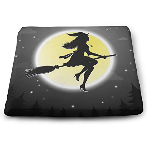 Sanghing Customized Halloween Witches Fly On Broomsticks 15x13.7 in Square Cushion is Natural, Suitable for Home Office Dining Chair, Indoor and Outdoor Seat Cushion.]()