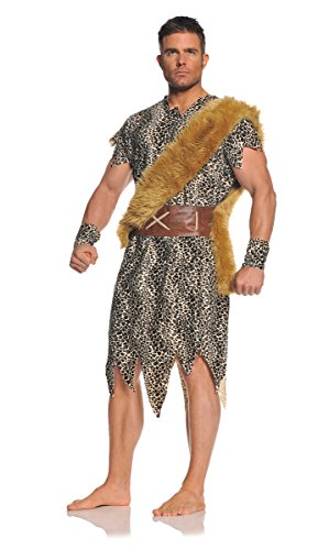 Male Caveman Costume (Underwraps Men's Plus-Size Cave Dweller, Leopard/Brown/Tan, XX-Large)