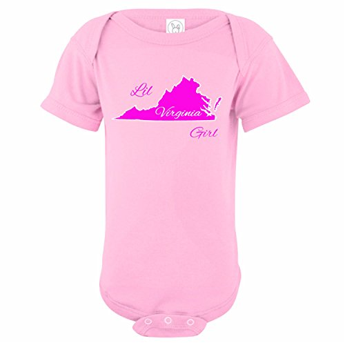 U.S. Custom Kids LIL Virginia Girl State Baby Onesie, Newborn Onesie, Light Pink Onesie