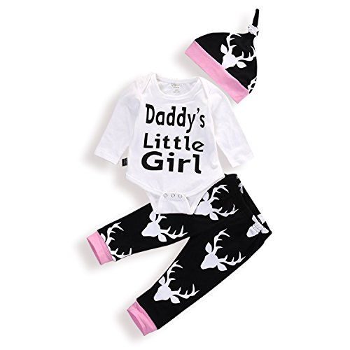 Zefeng Baby Boys Girls Clothing Long Sleeve Daddy's Little Girl Romper and Deer Pants Outfit With Hat (Daddys Little Girl Romper)