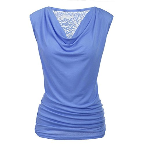 Clearance Tops, Hoshell Womens Ruched Cowl Neck Tank Tops Sleeveless Stretch Blouse with Side Shirring (S, ❀ Blue)