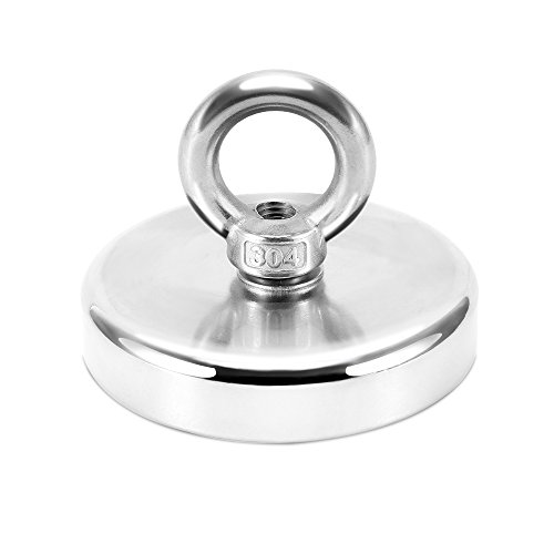 375 lbs Pulling Force,Super Strong Neodymium Fishing Magnets with countersunk Hole Eyebolt Diameter 2.95 inch(75mm) for Magnetic Fishing and Retrieving in River by HGMAG
