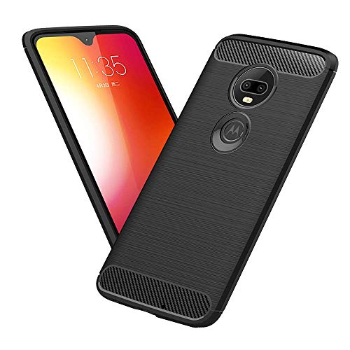 Moto G7 Case, TopACE Ultra Thin Carbon Fiber Scratch Resistant Shock Absorption Soft TPU Protective Cover Compatible for Motorola Moto G7 (Black)