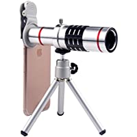 Cell Phone Camera Lens 18X Zoom Telephoto Lens with Tripod and Clip for iPhone Samsung HTC Most Smartphone (Silver)