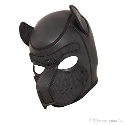 ZHS Quality Soft Padded Latex Rubber Puppy Play Dog Cosplay Full Head Mask with Ears Fetish Muzzle Hood Pet Role Play Gimp Costume 1pc by Zhonghaisun (Image #1)