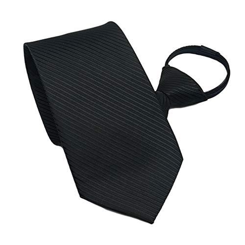 BESMODZ Classic Mens Zipper Tie Pre-tied Black Stripe Silk Business Suit Necktie
