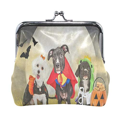 Coin Purse Hipster Puppy Dog Dressed In Halloween Costumes Womens Wallet Clutch Bag Girls Small Purse -