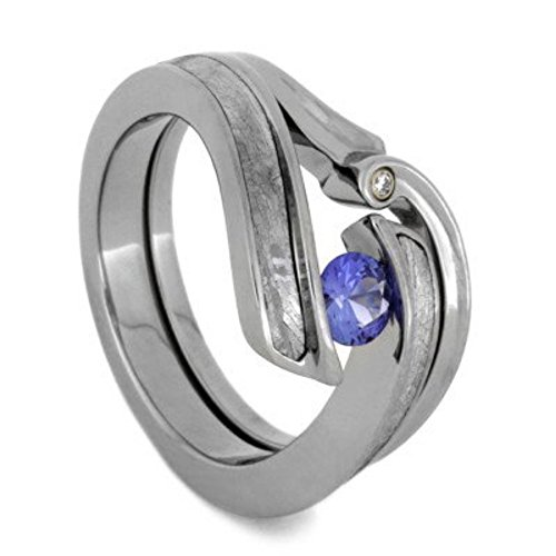 Blue Sapphire, Gibeon Meteorite Engagement Ring, Charles & Colvard Moissanite Wedding Band, Bridal Set Size 6 by The Men's Jewelry Store (for HER)