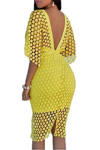 Delle Pizzo Club Backless Con A Di Del Giallo Abito Bodycon Donne Scialle V Scollo Mini Coolred rS4CrFq