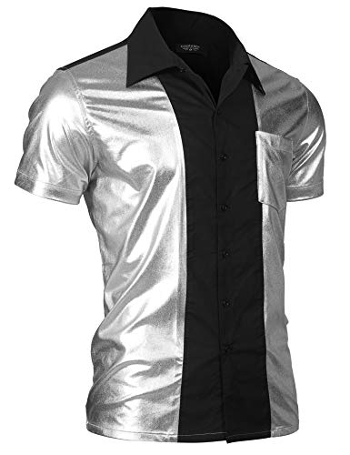 COOFANDY Men's Party Shirt Shiny Metallic Disco Nightclub Style Short Sleeves Button Down Bowling Shirts ,Silver ,X-Large