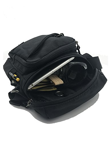 ItPlus Pequeña bolsa de mensajero llevando hombro bolsa de iPad día con 2 bolsillos laterales multi-compartimiento bolsa casual para iPad, Smartphones, Kindle / Tablet-Negro