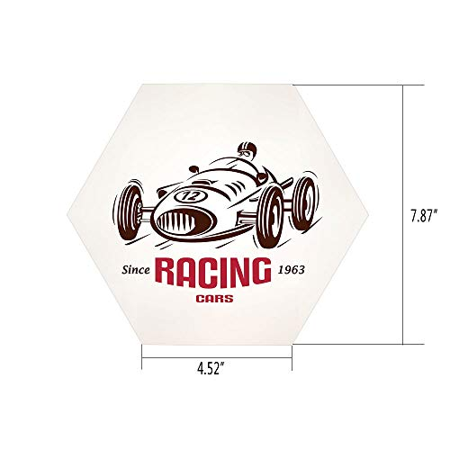 (iPrint Hexagon Wall Sticker,Mural Decal,Cars,Retro Style Race Car Emblem Formula Automobile Icon Speed Competition,Chesnut Brown Pink White,for Home Decor 4.52x7.87 10 Pcs/Set)