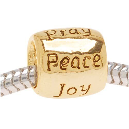 Beadaholique Message Bead Love Faith Pray Peace Joy Hope, Fits Pandora, 22K Gold -