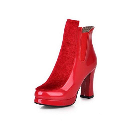 AgooLar Damen Blend-Materialien Niedrig-Spitze Rein Elastic Band Hoher Absatz Stiefel, Schwarz, 35