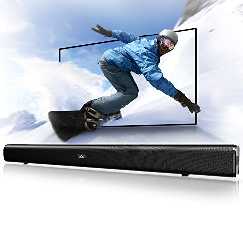 Sound Bar, Bluetooth Soundbar Audio TV Speaker - Wired and Wireless Connection, 29.5-Inches 2.0 Channel Home Theatre Sound System with 50 Watts Speakers, AUX/Optical/USB/BT Input Modes
