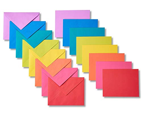 Blank Cards with Envelopes, Single Panel, Rainbow-Colored, 200 Count