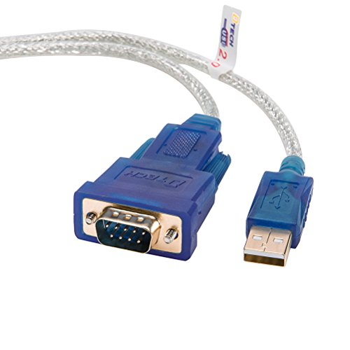 DTECH 4 Feet USB to RS232 DB9 Serial Port Adapter Cable - with FTDI Chipset Supports Windows 10 8 7 and Mac Linux (Comm Port To Usb)