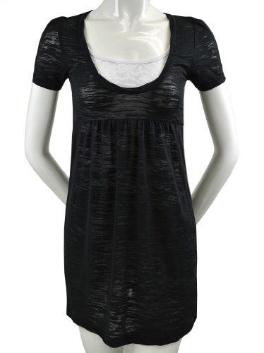 Kavio! Women's Striped Burnout Baby Doll Short Sleeve Dress Black/Black (Short Sleeve Baby Doll Dress)