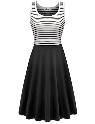 Herou Sleeveless Tank Striped Dresses for Women Black XX-Large ()