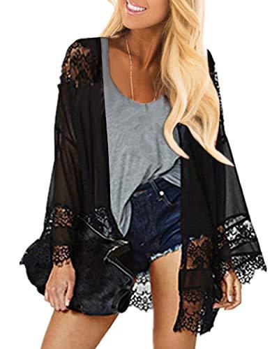 Celmia Women Loose Kimono Cardigan Shawl Chiffon Lace Crochet Flower Blouses Top Black 5XL