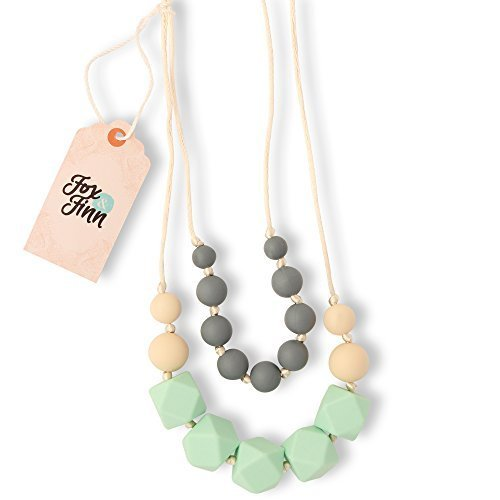 Fox and Finn 'Isabella' Silicone Teething Necklace for Babies | Safety Knotted Silk Rope | Does Not Pull Hair Out | 14 Inch Drop (mint + smoke + latte)