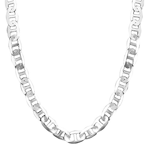 Honolulu Jewelry Company Sterling Silver 4.5mm - 8mm Mariner Link Chain Necklace or Bracelet (8mm - 24 - 8mm Mariner Silver Bracelet