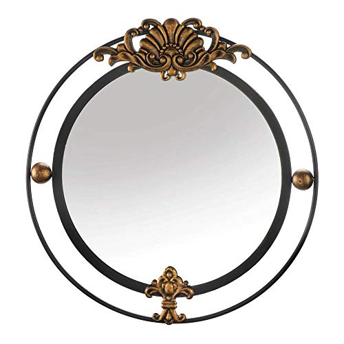 Highest_Shop Regal Round Circular Accent Wall Mirror with Gold Accent Elegance Luxury Style Modern Iron Glass