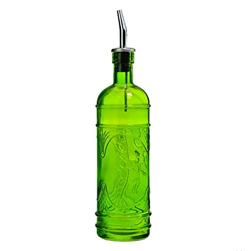 Deco Kitchen Olive Oil, Liquid Dish or Hand Soap Glass Bottle Dispenser ~ G182FS Lime Green ~ Metal Pour Spout and Cork Included with Olive Leaf Design Glass Bottle