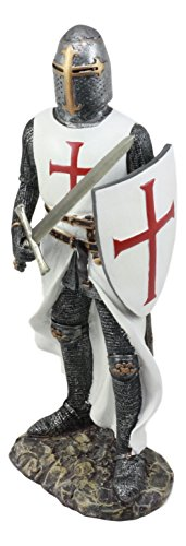"""Ebros White Cloak Caped Medieval Crusader Swordsman Knight Figurine 11.5""""H Medieval Royal Suit Of Armor Knight Of The Cross Resin Collectible"""