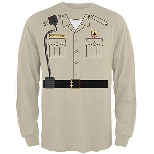 Halloween Forest Park Ranger Costume Mens Long Sleeve T Shirt Sand (Forest Ranger Halloween Costume)