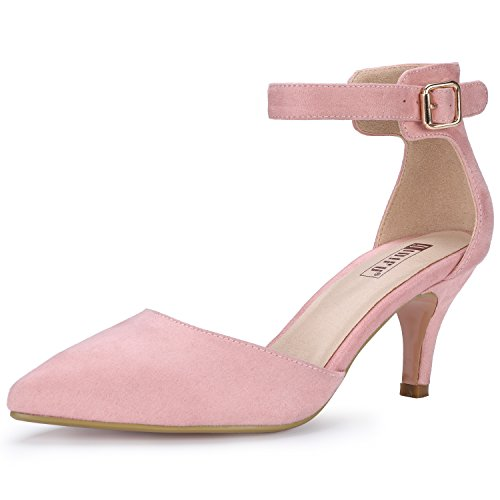 IDIFU Women's IN3 D'Orsay Pointed Toe Ankle Strap Mid Heel Pump (Pink Suede, 9 B(M) US)