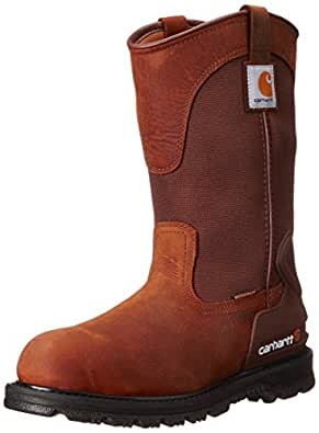 "Carhartt Men's 11"" Wellington Waterproof Soft Toe Pull-On Leather Work Boot CMP1100, Bison Brown Oil Tan, 8 W US"