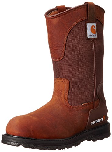 "Carhartt Men's 11"" Wellington Waterproof Soft Toe Pull-On Leather Work Boot CMP1100, Bison Brown Oil Tan, 10.5 M US"
